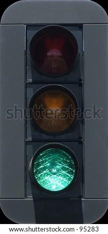 Traffic lights lighted green - stock photo