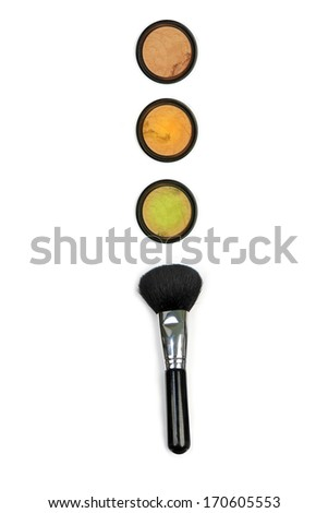 Traffic Lights made ??from powder and brush. Isolated on white background - stock photo