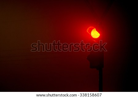 traffic lights red color at night - stock photo