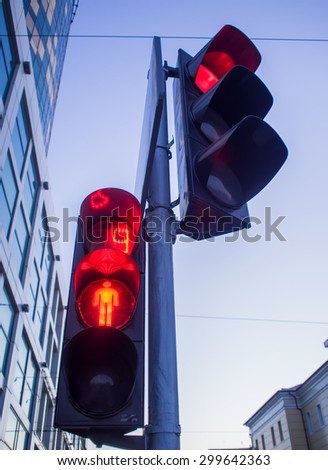 Traffic lights, red signal, stop - stock photo