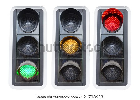 traffic lights showing red green and red isolated on white concepts for go and stop and structure chaos - stock photo