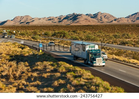 Traffic moving across America on interstate I-10, Arizona - stock photo