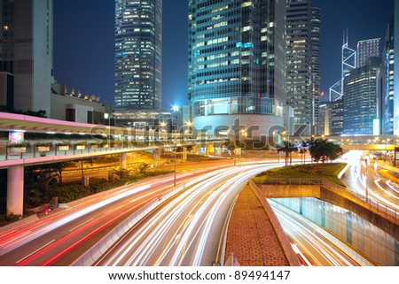 traffic night in downtown area, hong kong - stock photo