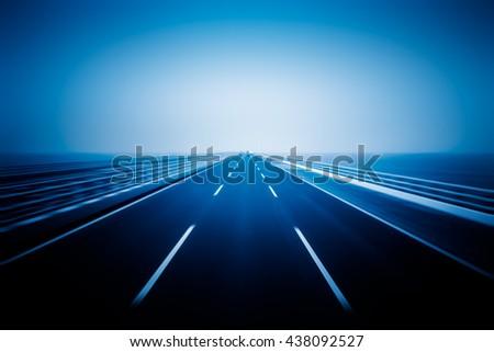 traffic on haiwan bridge,qingdao - stock photo