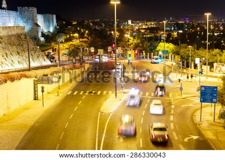 Traffic on Jaffa street in Jerusalem, Israel  at night - stock photo