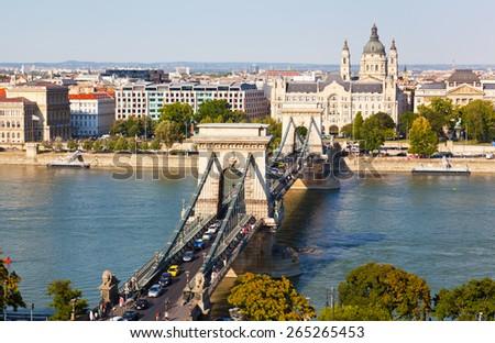 Traffic on Szechenyi Chain Bridge in Budapest, Hungary - stock photo