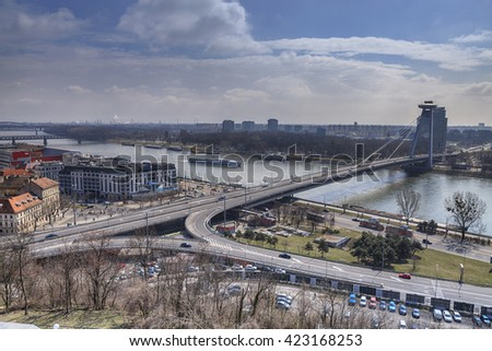 Traffic on the bridge across the Danube in Bratislava, Slovakia