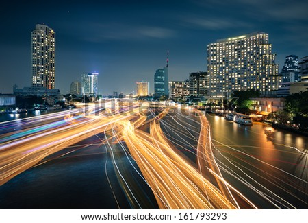 Traffic on the Chao Phraya river, Bangkok. Thailand. - stock photo