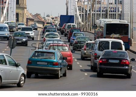 Traffic over a bridge - stock photo
