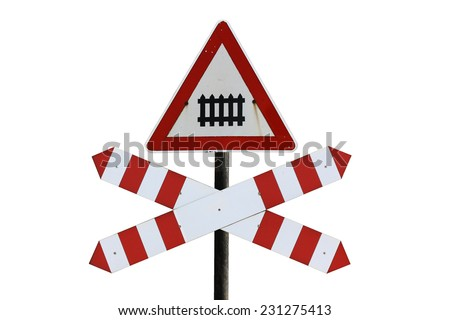 Traffic railway sign isolated on white background - stock photo