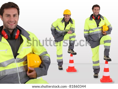 Traffic security worker - stock photo