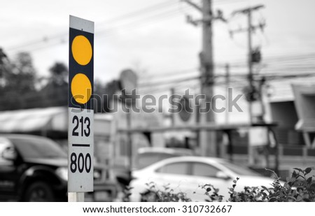 traffic sign and distance signs thailand. - stock photo