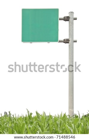 traffic sign and green grass on white isolate background - stock photo