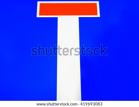 traffic sign for: route way end or the blind street. - stock photo