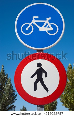 Traffic sign in a bikeway. Forbidden for pedestrian - stock photo