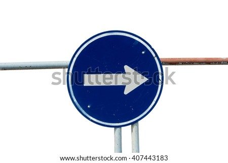 Traffic sign isolate on white background with clipping path - stock photo