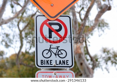 Traffic sign, no parking, bike lane    bike lane, traffic sign, bike lane, traffic sign, bike lane, traffic sign, bike lane, traffic sign, bike lane, traffic sign, bike lane, traffic sign,   - stock photo