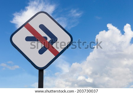 traffic sign of no turn right on blue sky background - stock photo