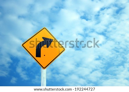 Traffic sign on the clouds - stock photo