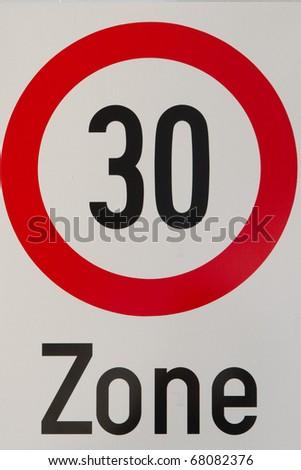 traffic sign, speed limit 30 km/h - stock photo
