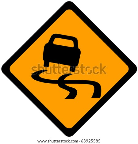 Traffic sign warning car out of control - stock photo