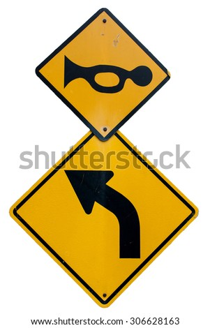 Traffic sign with arrow turn left - stock photo