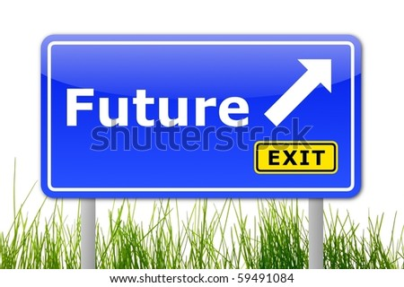 traffic sign with future and arrow showing the right direction - stock photo
