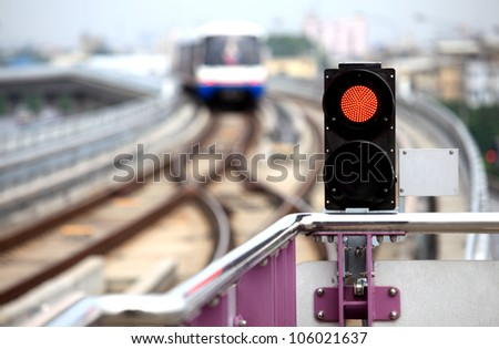 Traffic signal sky-train - stock photo