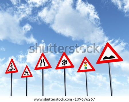 Traffic Signs Computer generated 3D illustration - stock photo