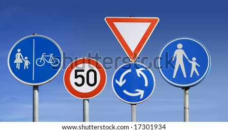 traffic signs in Germany - stock photo