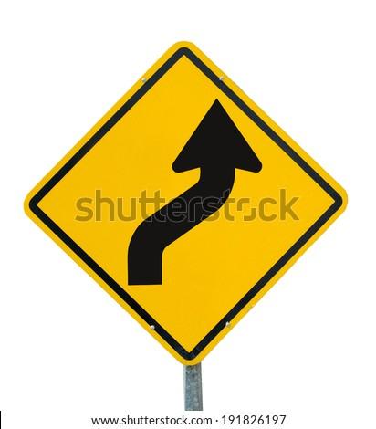 traffic Signs. Narrow radius curve turn right. on white background - stock photo