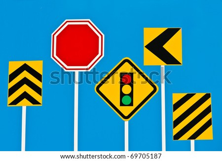 Traffic Signs on Blue Board - stock photo