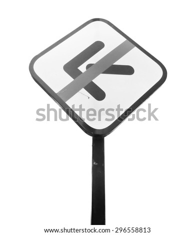 Traffic signs prohibiting left turn sign on isolated white, clipping path. - stock photo