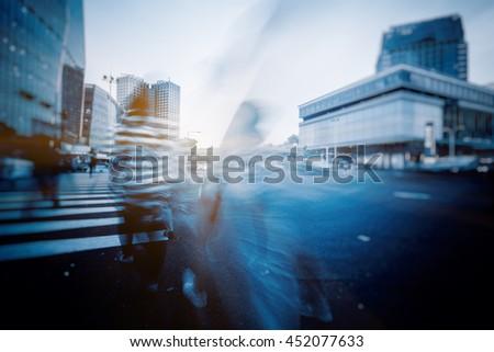 traffic through city, shanghai china. - stock photo