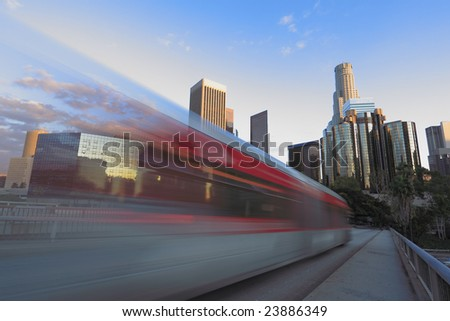 Traffic through Los Angeles (time lapse with traffic as motion blur) - stock photo