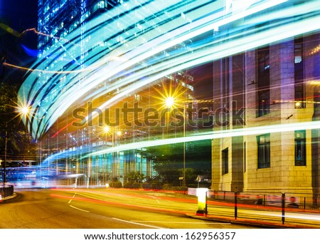 Traffic trail in a city - stock photo
