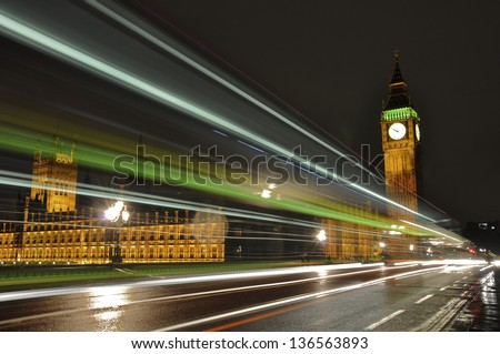 Traffic trails from a double decker bus on Westminster Bridge, London - stock photo