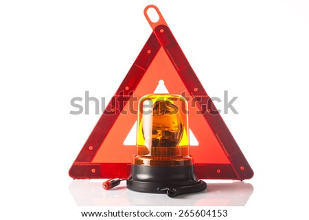 traffic triangle and orange road light isolated on white background - stock photo