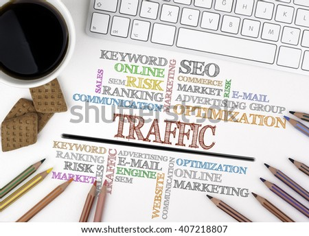 Traffic word cloud, Business concept. White office desk - stock photo