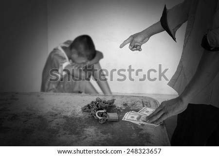 Trafficking or the concept of human rights violations. - stock photo