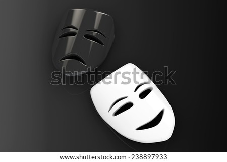Tragicomic Theater Masks. Sad and Smile masks on a black background - stock photo