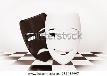 Tragicomic Theater Masks. Sad and Smile masks over chessboard background - stock photo