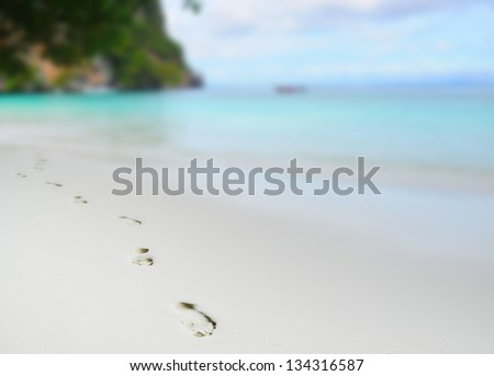 trail barefoot feet in the sand on a beautiful beach - stock photo