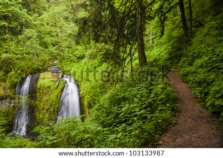 Trail by Upper Elowa Falls, waterfalls in Columbia Gorge, Oregon - stock photo
