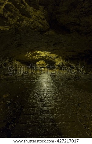 Trail Inside Cave - stock photo
