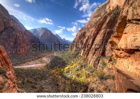 Trail leading to Angels Landin, in Zion National Park. - stock photo