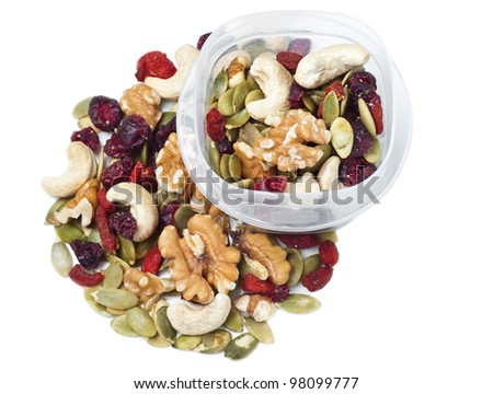 Trail mix container on white - stock photo