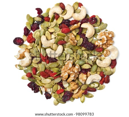 Trail mix on white - stock photo