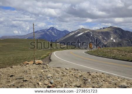 Trail Ridge Road at Rocky Mountain National Park - stock photo