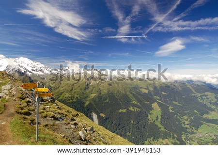 Trail Sign Along European Alps Hiking Trail - stock photo